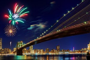 Firework over city night of New York