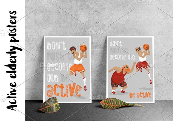 Active Elderly Posters Basketball