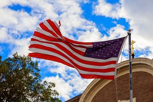 American flag and religious Church