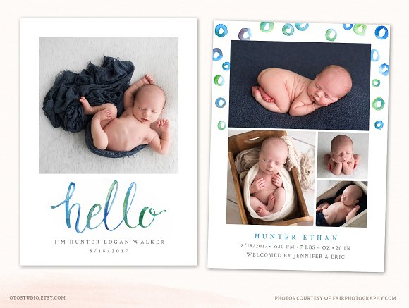 Birth announcement template cb117 card templates creative market birth announcement template cb117 cards pronofoot35fo Gallery