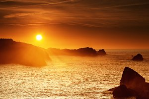 Orange sunset at Cantabrian coast