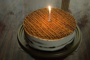 Birthday cake with candle.