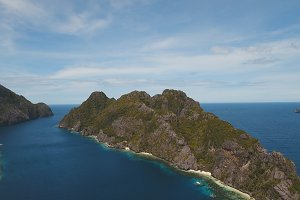 Tropical island and sandy beaches, aerial view. El Nido