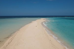 Aerial view beautiful beach on tropical island. Camiguin island Philippines.