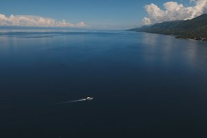Motorboat on the sea, aerial view.Cebu island Philippines.