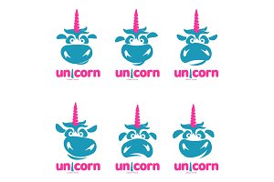 Unicorn illustration logo template