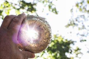 Golden bagel holding  in hand