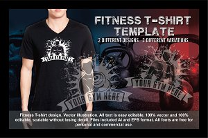2 Fitness T-Shirt Template Vol 2