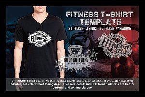 2 Fitness T-Shirt Template Vol 5