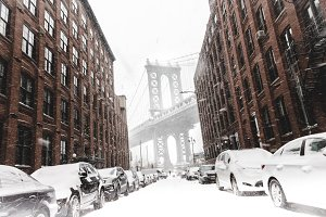 Famous Tourist Brooklyn Area in Snow