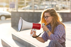 Girl with loudspeaker