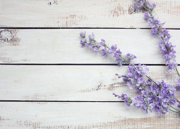 Lavender floral on wooden background
