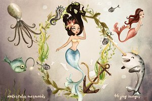 Watercolor Mermaids Collection