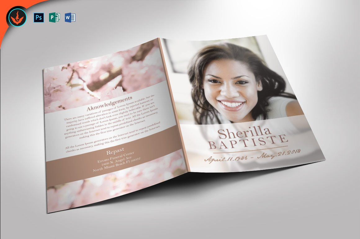 funeral brochure templates free - cherry funeral program template brochure templates