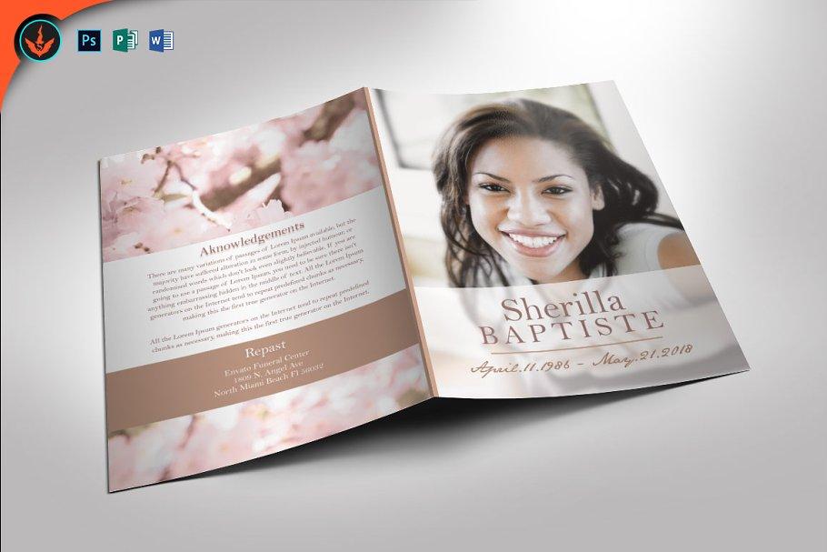 Cherry Funeral Program Template Brochure Templates Creative Market