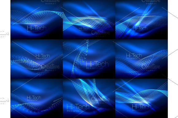 Set of elegant flowing neon waves, digital abstract backgrounds