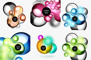 Set of glass shapes banner set with blurred effects