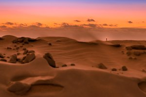 Sunset over the dunes of Maspalomas.