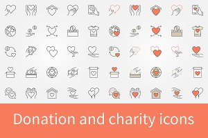 Donation and charity icons set