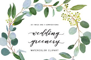 Watercolor Greenery Photos Graphics Fonts Themes Templates