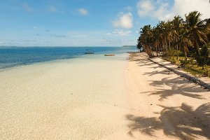 Aerial view beautiful beach on a tropical island. Philippines,Siargao.
