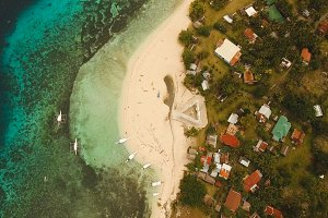Aerial view beautiful beach on a tropical island. Philippines,Pamilacan.