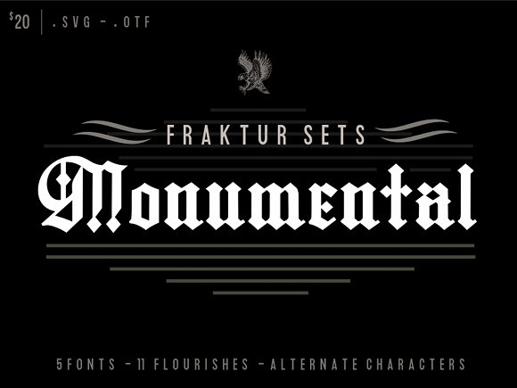 Fraktur Sets Fonts Flourishes