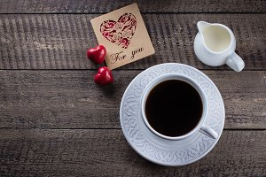 Valentine's Day. Coffee and Milk