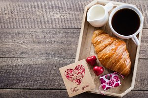 Valentine's Day.Coffee and Croissant