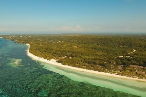 Aerial view beautiful beach on a tropical island. Philippines,Bohol.