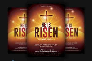 Hi is Risen/Worship Church Flyer