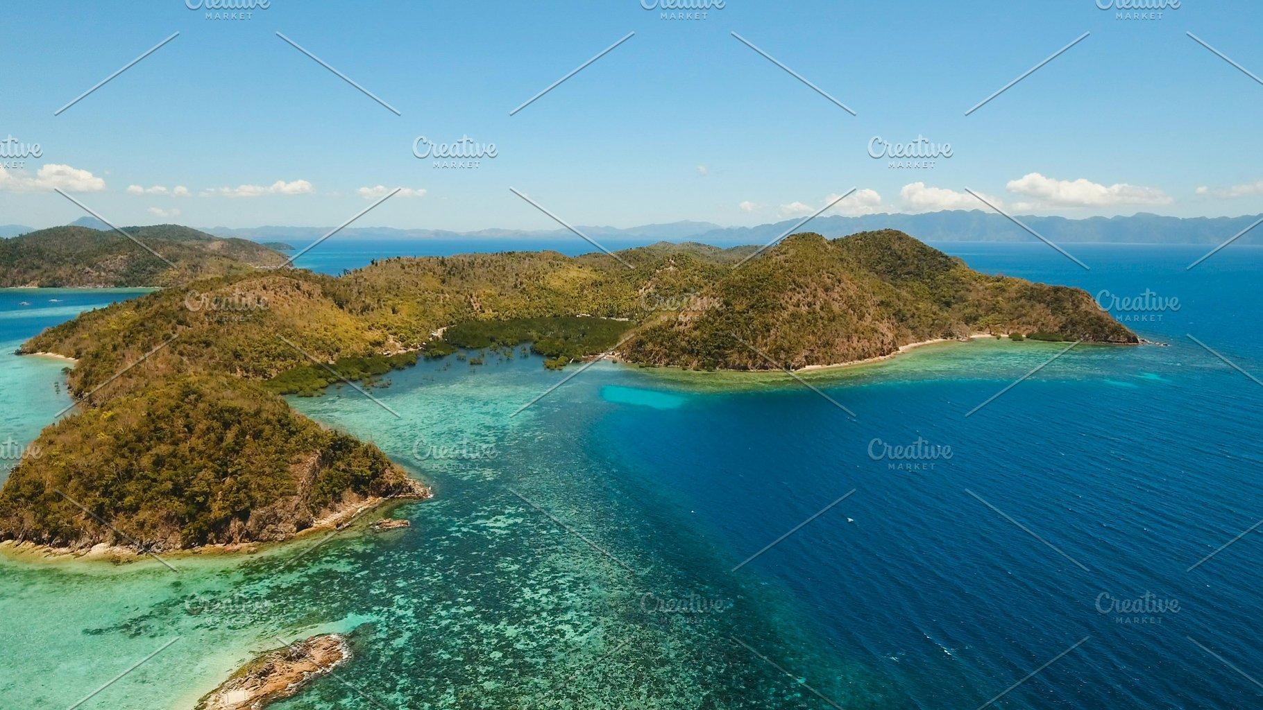 Aerial View Tropical Lagoon Sea Beach Tropical Island Busuanga Palawan Philippines