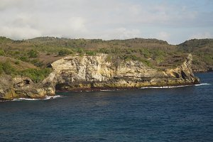 Seascape Cliffs, sea and waves at Nusa Penida, Bali, Indonesia