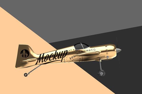 GOLD AEROBATIC AIRCRAFT MOCKUP PSD Mockup - 3d Wall Logo Mockup