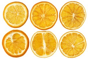 Dried oranges isolated on white background closeup