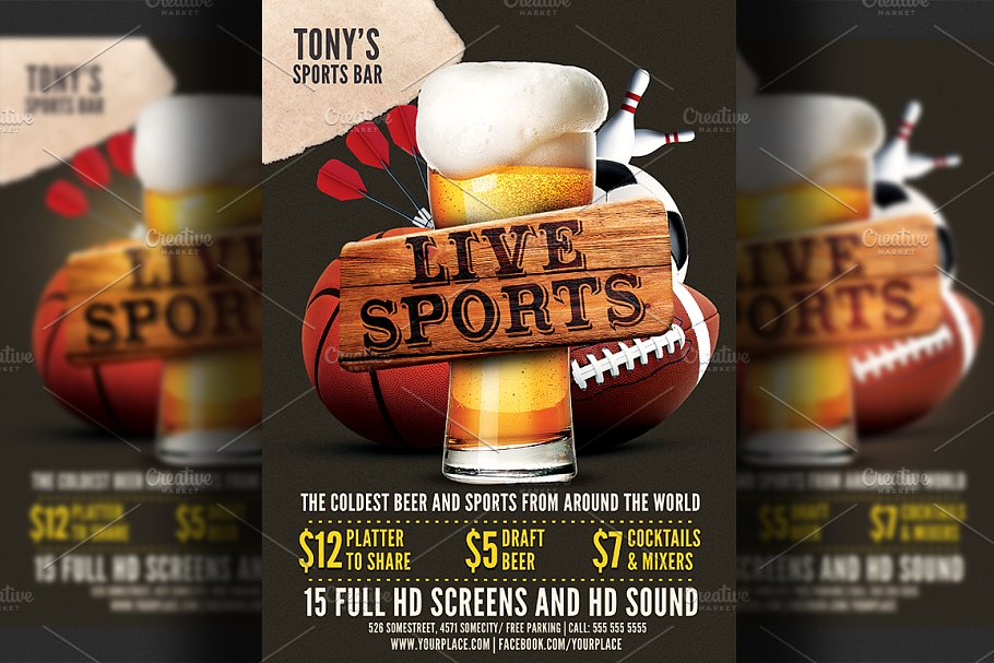 Sports Bar Flyer Template Flyer Templates Creative Market Pro
