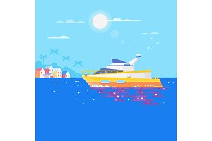 Sailboat in the sea and seagulls around.Luxury travel seaway ocean transport yacht. Flat vector illustration