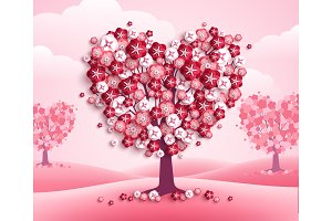 Valentines Day heart shape trees