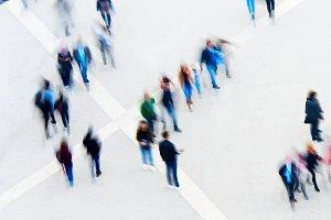 Motion blur of walking people