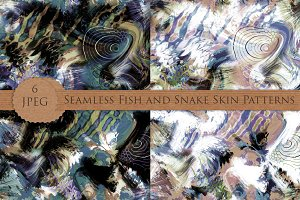 SNAKE FISH skin  6 seamless patterns
