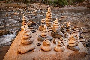 Stones Pyramids On A Big Rock