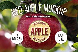 Red Apple mockup + (2 mockups)