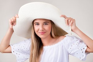 portrait of pretty girl with hat