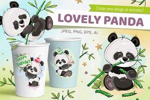 Set of cute pandas