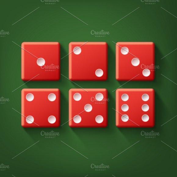 Set Of Red Casino Dice
