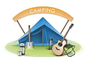 Camping zone with blue tent