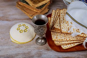 Jewish holiday Passover with matzah