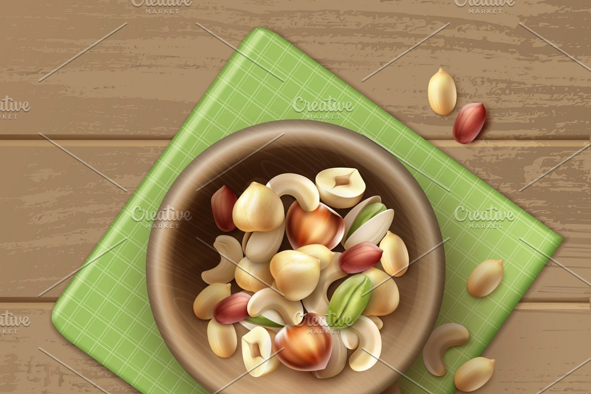 Different nuts in wooden bowl