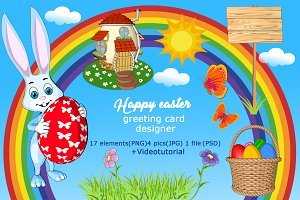 Happy Easter greeting card designer