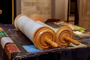 Jewish torah scrolls in synagogue